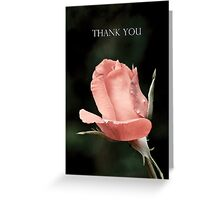 Single Pink Rose - Thank You Greeting Card