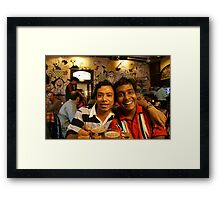 two very happy friends  Framed Print