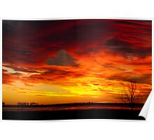 Valentines Day Sunrise Heart in the Clouds Nature Image Poster
