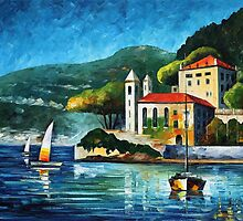Italy Lake Como- original oil painting on canvas by Leonid Afremov by Leonid  Afremov