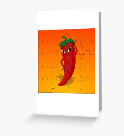 Red Pepper Diva Jigsaw Puzzle Greeting Card