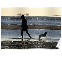 A Man and his Dog, Nudgee Beach. Poster