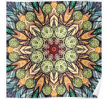 abstract red star hand drawn and  kaleidoscope mandala Poster