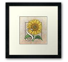 S is for Sunflower Framed Print