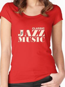 White Classic jazz music Women's Fitted Scoop T-Shirt
