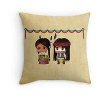 Chibi American Indians Throw Pillow