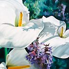 """Three Arums"" - arum lilies in  the sunshine by James  Knowles"