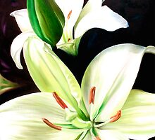 """English Lilies"" - white lilies by James  Knowles"