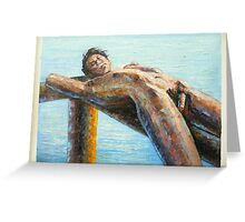 ORIGINAL ABSTRACT OIL PAINTING ART-MALE NUDE Greeting Card