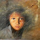ORIGINAL OIL PAINTING ART-CUTE GIRL by hongtao-art