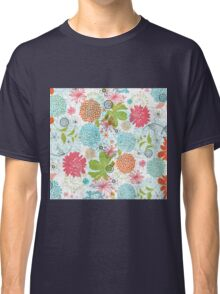 Cute Colorful Retro Flowers Collage Classic T-Shirt