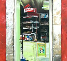 """Abarrotes"" - Oil painting of an old Mexican door by James  Knowles"