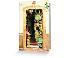 """Tienda de Curiosidades"" - painting of an old Mexican door  Greeting Card"