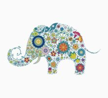 Retro Colorful Floral Elephant Illustration by artonwear