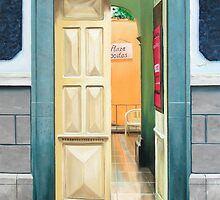 """""""Plaza Positos"""" - Oil painting of an old Mexican door by James  Knowles"""