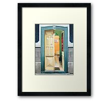 """Plaza Positos"" - Oil painting of an old Mexican door Framed Print"