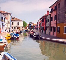 Venice Boats Along A Colorful Alley by daphsam