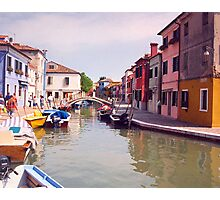Venice Boats Along A Colorful Alley Photographic Print