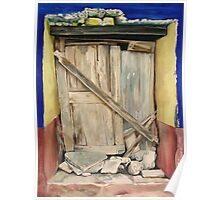 """La Puerta Cerrada"" - oil painting of an old Mexican door  Poster"
