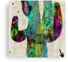 Desert Cactus Rainbow Art Abstract Watercolor by Robert R  Canvas Print