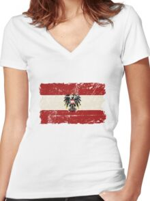 Austria Flag - Vintage Look Women's Fitted V-Neck T-Shirt