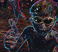Underwater Neon Glow Portrait by Elaine Farmer