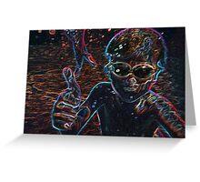 Underwater Neon Glow Portrait Greeting Card