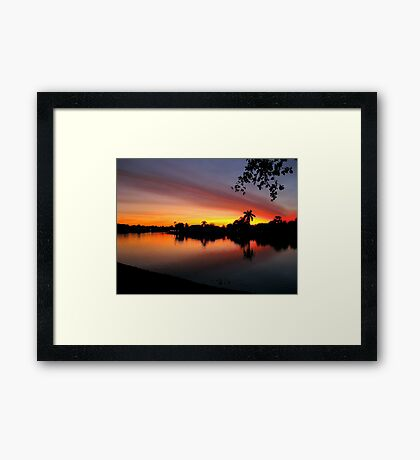 Sunset over Man Made Lake Framed Print