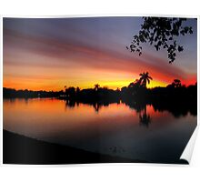 Sunset over Man Made Lake Poster