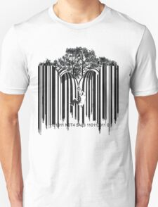 UNZIP THE CODE barcode graffiti print illustration T-Shirt