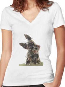 Scottie Dog Women's Fitted V-Neck T-Shirt