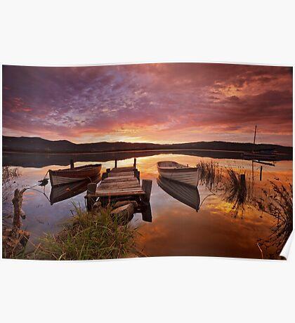 Row Boats, South Franklin, Tasmania Poster