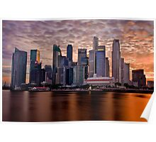Singapore City, Financial District, Sunset Poster