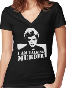 Murder She Wrote Deadly Lady stencil Women's Fitted V-Neck T-Shirt