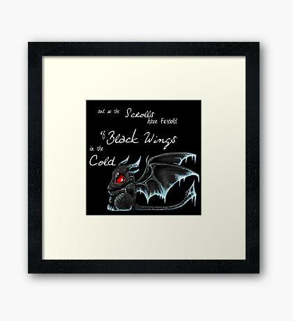 Black Wings (White Lettering) Framed Print