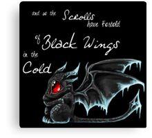 Black Wings (White Lettering) Canvas Print