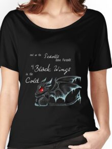 Black Wings (White Lettering) Women's Relaxed Fit T-Shirt