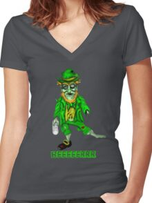 Leprechaun Zombie Women's Fitted V-Neck T-Shirt