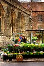 The Flower Stall Outside St Helen's Church, York by Christine Smith