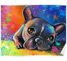 Whimsical French Bulldog painting Svetlana Novikova Poster