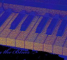 Playing the Blues - Piano keys abstract  by kreativekate