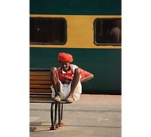 Indian Railway Porter resting, Agra Station Photographic Print
