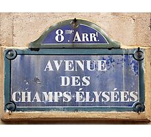 Champs Elysees street sign Photographic Print
