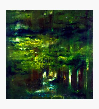 """Forest One"" - abstract oil painting impression of trees    Photographic Print"