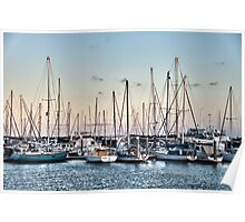 Boats in harbour late afternoon sunset Poster