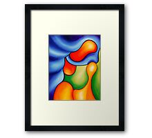 """""""Fun in the Pool"""" - colorful abstract expressionistic oil painting Framed Print"""