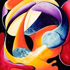 """The Big Bang"" - colorful abstract expressionistic oil painting by James  Knowles"