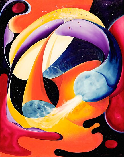 """""""The Big Bang"""" - colorful abstract expressionistic oil painting by James  Knowles"""