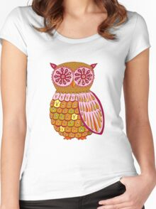 Retro Owl Shirt Women's Fitted Scoop T-Shirt