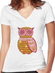 Retro Owl Shirt Women's Fitted V-Neck T-Shirt